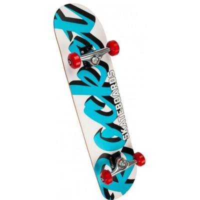 Rocket Complete Skateboard Pro Script White/Blue 7.75 IN